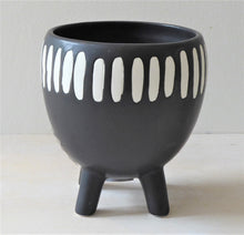 Black and White Grooved Planter on Legs from Sass & Belle