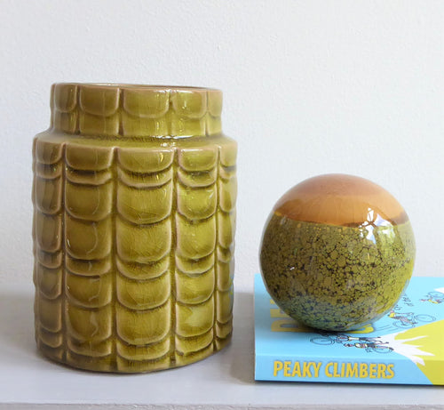 Dijon Green / Yellow Pear Coloured Retro Ceramic Vase from Bloomingville