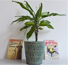 Fans Plant Pot Covers by Gisela Graham ~ Ceramic Planters ~ Art Deco Style ~ Green, Grey or Sea Blue