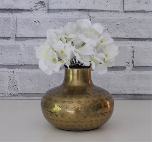 Aged Brass Vase Hand Made in India