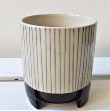 Striped Geometric Monochrome Planter on Legs by Sass & Belle