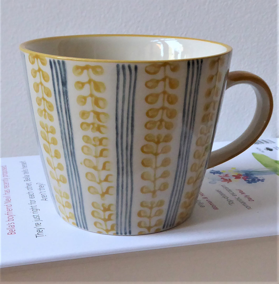 Berry Stripe Ceramic Mugs ~ Yellow, Green or Blue