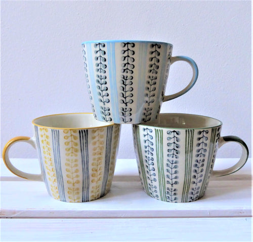 Berry Stripe Ceramic Mugs Blue, Yellow or Green by Gisela Graham