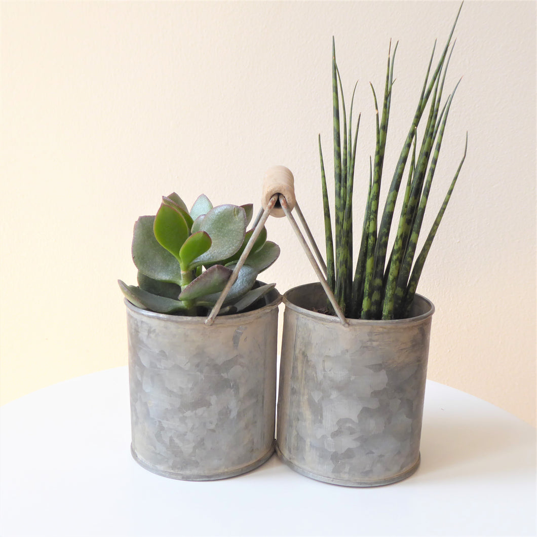 Zinc Twin Pots with Handle by Grand Illusions