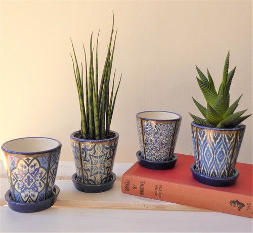 Mini Moorish-Style Pots with Saucer - Four Designs