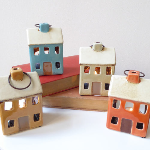 Ceramic Houses Tealight Holders