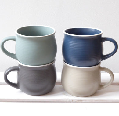Stoneware Mugs in Four Earth Tones by Grand Illusions
