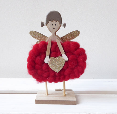 Wooden Angel with Red Wool Dress