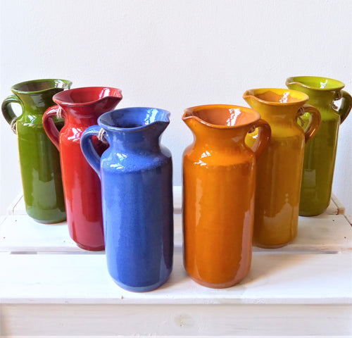 Spanish Rustic Jugs with Handle in Six Colours