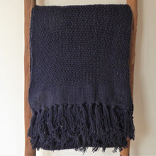 Navy Cotton Throw / Blanket ~ Recycled Cotton