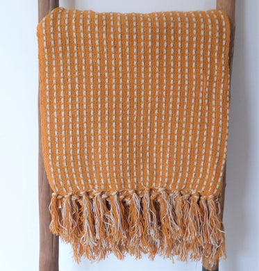 Mustard Stab Stitch Cotton Throw / Blanket