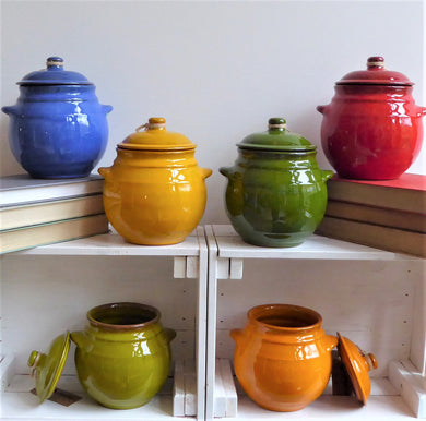 Spanish Ceramic Storage Jars with Lids