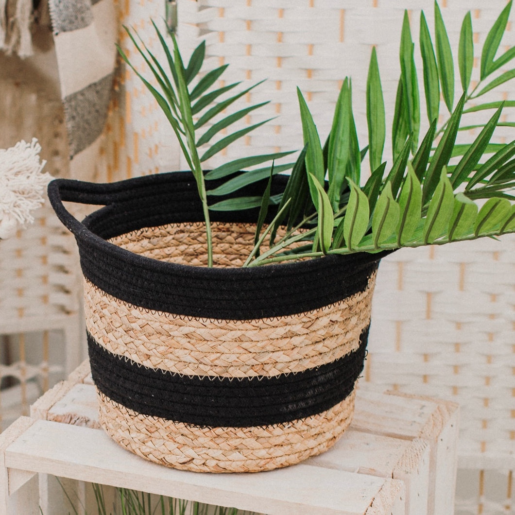 Rope & Seagrass Black Stripe Basket by Sass & Belle