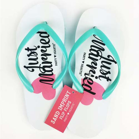 Just Married Sand Imprint Flip Flops
