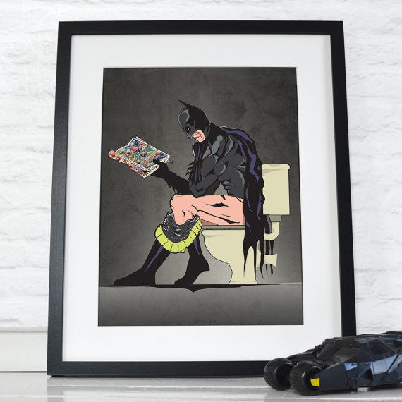 Superheros On the Loo Posters  (Set of 2)