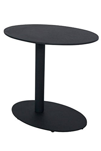 Benzara BM172102 Modern Metal Outdoor Side Table with Oval Top/Base, One, Black