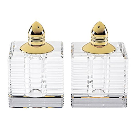Badash H244G Crystal Salt & Pepper Squares with Gold Tops