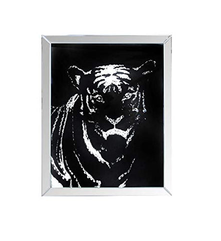 Benzara BM184759 Rectangular Tiger Framed Art with Crystal Inlays, Black and Silver