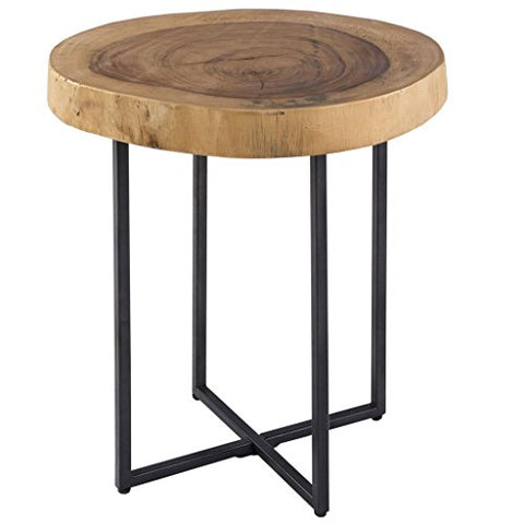 INK+IVY Wren Solid Raw Wood Accent Table