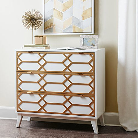 Maria Gold Lattice Accent Chest White See below
