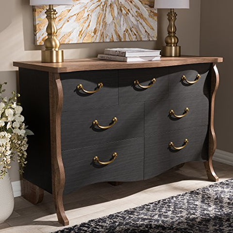 Baxton Studio Romilly Country Cottage Farmhouse Black and Oak-Finished Wood 7-Drawer Dresser