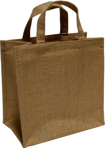 HomArt Jute 6 Bottle Picnic Tote, Plain