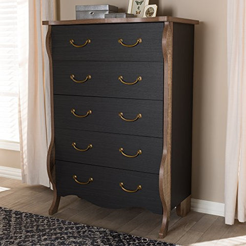 W-BR990064-Black/Oak-5DW-Chest