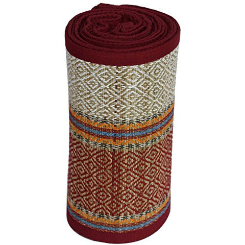 Benzara BM123980 Woven Straw Yoga Beach Mat for Indoors and Outdoors, Multicolor