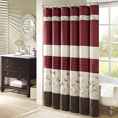 "Madison Park Embroidered Serene Shower Curtain, Red, 108""x72"""