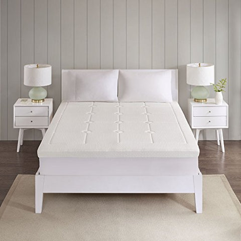 "Flexapedic by Sleep Philosophy Deluxe 3"" Quilted Memory Foam Mattress Topper White Twin"