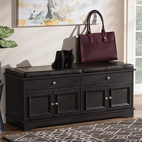 Baxton Studio Mason Dark Brown Storage Bench