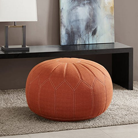 Madison Park Kelsey Round Pouf Ottoman Orange See below