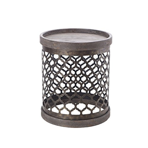Intelligent Design Cirque Reclaimed Quatrefoil Metal Drum Grey