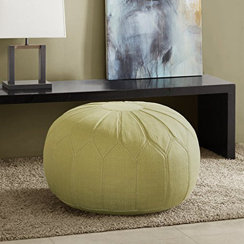 Madison Park Kelsey Round Pouf Ottoman Green See below