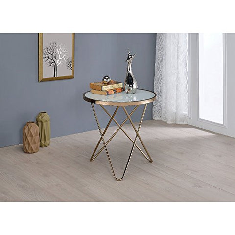 Benzara BM154554 Valora End Table, Frosted Glass/Champagne
