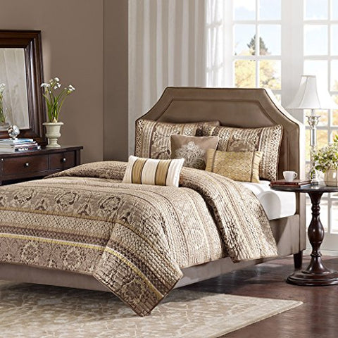 Madison Park Bellagio 6 Piece Quilted Coverlet Set, King, Brown/Gold