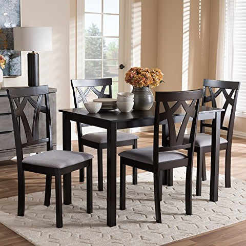 W-RH146C-Dark Brown/Grey Dining Set