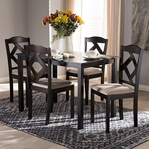 W-RH133C-Dark Brown/Sand Dining Set