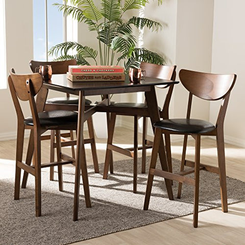 W-Leena-Black/Walnut-5PC Pub Set