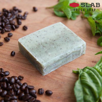 Basil Mint & Coffee Grounds Soap Sample - -
