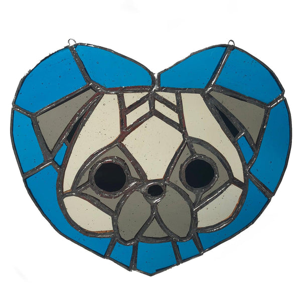Puggy Love Panel with blue heart