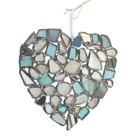 Large Blue Sea Glass Heart Window Decoration