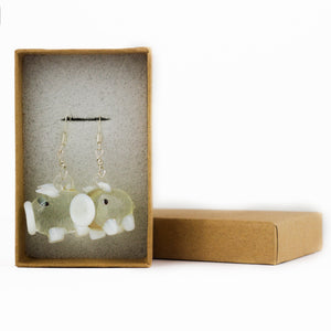 White Piggy Earrings- Sterling Silver & Glass Dangly Pig Earrings