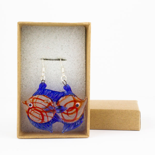 Red & Blue Tropical Fish Earrings