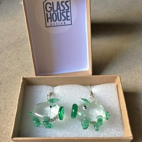 Green Pig Earrings Boxed