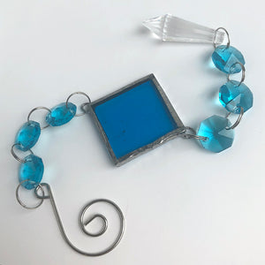 Lagoon Blue Rainbow Maker - Crystal Sun Catcher with Stained Glass Panel