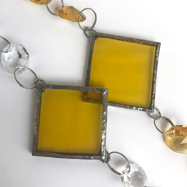 Sunshine Glass Squares with clear & yellow crystals