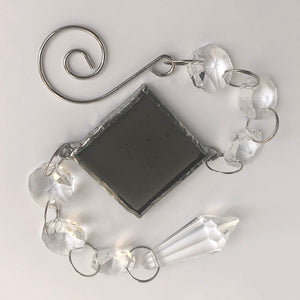 Pewter Grey Rainbow Maker - Crystal Sun Catcher with Stained Glass Panel