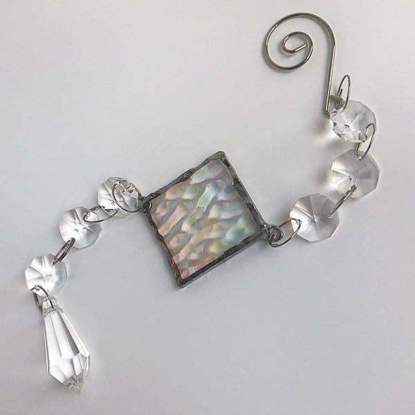 Textured Clear Rainbow Maker - Crystal Sun Catcher with Stained Glass Panel