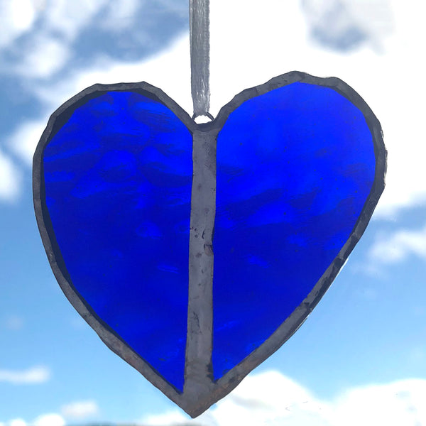 Deep Blue Heart Window Charm Gift